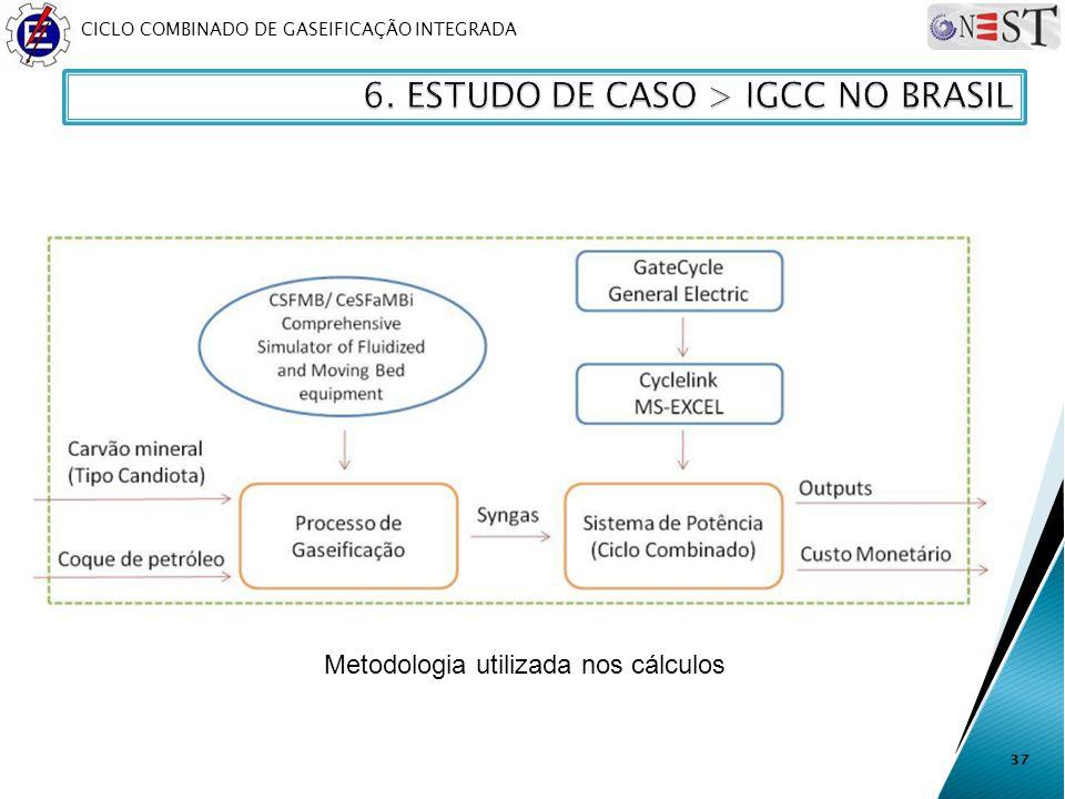 CICLO COMBINADO DE GASEIFICAÇÃO INTEGRADA 37 Metodologia utilizada nos cálculos