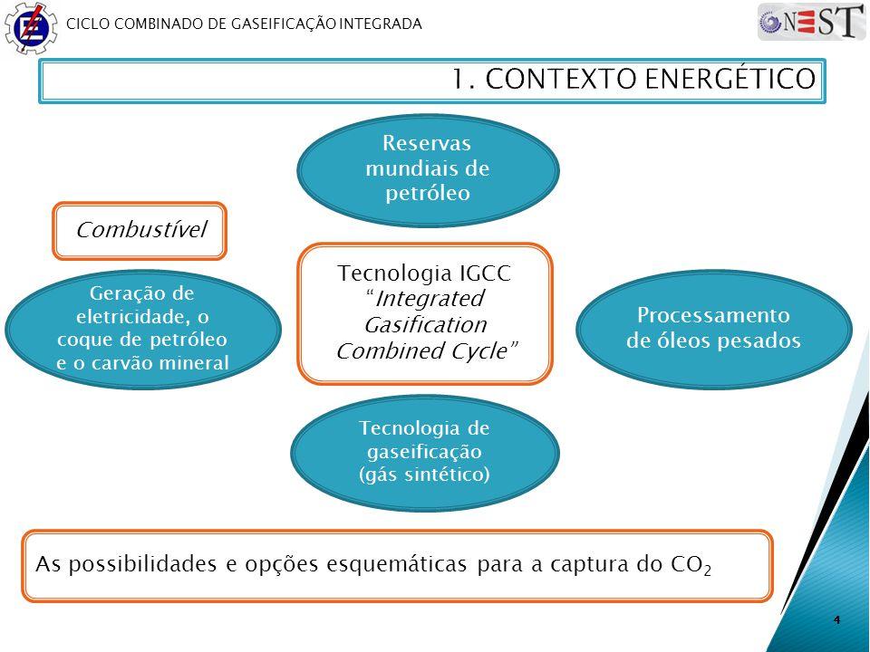 CICLO COMBINADO DE GASEIFICAÇÃO INTEGRADA 4 Reservas mundiais de petróleo Processamento de óleos pesados Tecnologia IGCCIntegrated Gasification Combin