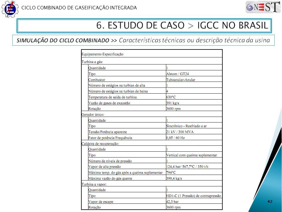 CICLO COMBINADO DE GASEIFICAÇÃO INTEGRADA 42