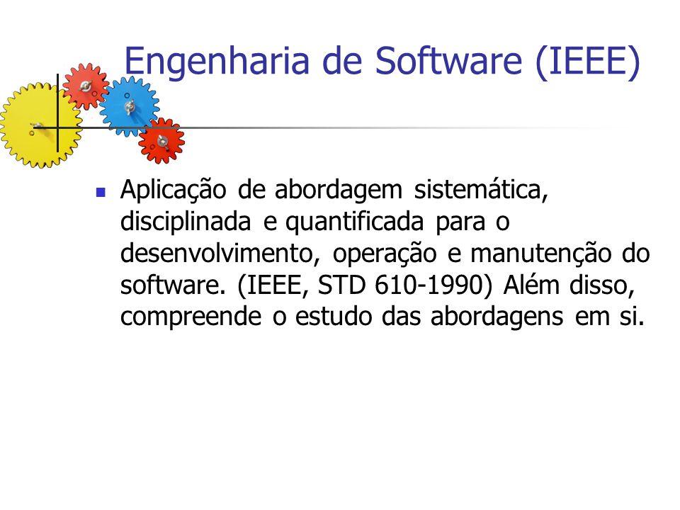 Engenharia de Software (IEEE) Aplicação de abordagem sistemática, disciplinada e quantificada para o desenvolvimento, operação e manutenção do softwar