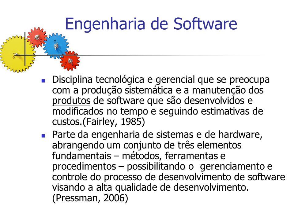 Engenharia de Software Disciplina tecnológica e gerencial que se preocupa com a produção sistemática e a manutenção dos produtos de software que são d