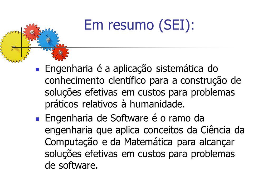 Em resumo (SEI): Engenharia é a aplicação sistemática do conhecimento científico para a construção de soluções efetivas em custos para problemas práti