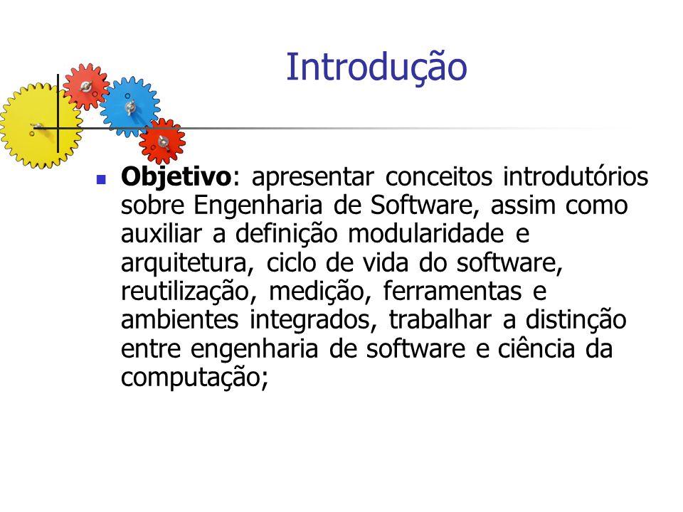 Introdução Objetivo: apresentar conceitos introdutórios sobre Engenharia de Software, assim como auxiliar a definição modularidade e arquitetura, cicl