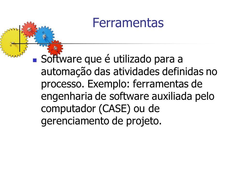 Ferramentas Software que é utilizado para a automação das atividades definidas no processo. Exemplo: ferramentas de engenharia de software auxiliada p