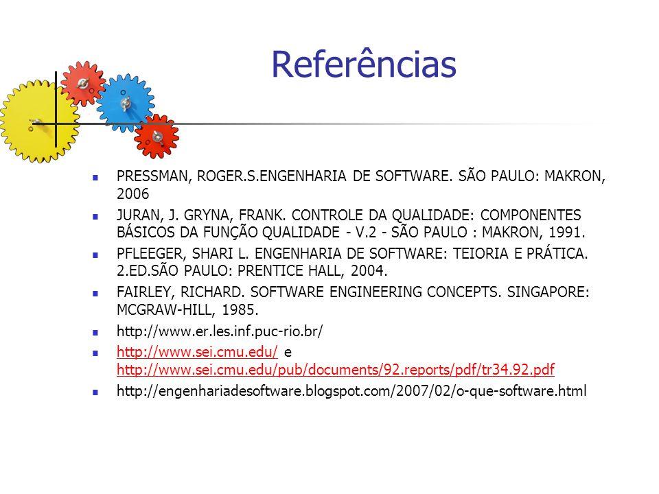Referências PRESSMAN, ROGER.S.ENGENHARIA DE SOFTWARE. SÃO PAULO: MAKRON, 2006 JURAN, J. GRYNA, FRANK. CONTROLE DA QUALIDADE: COMPONENTES BÁSICOS DA FU