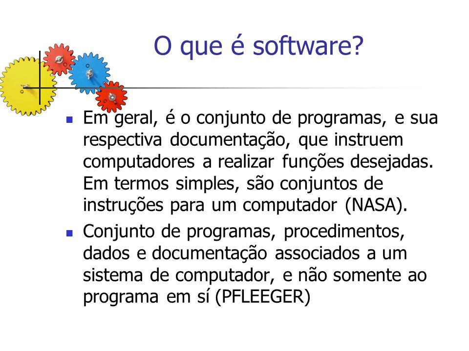 Compreendendo o software Desenvolvido por engenharia e não manufaturado; Não tem desgaste; Construção do software é exclusiva para o problema em questão.