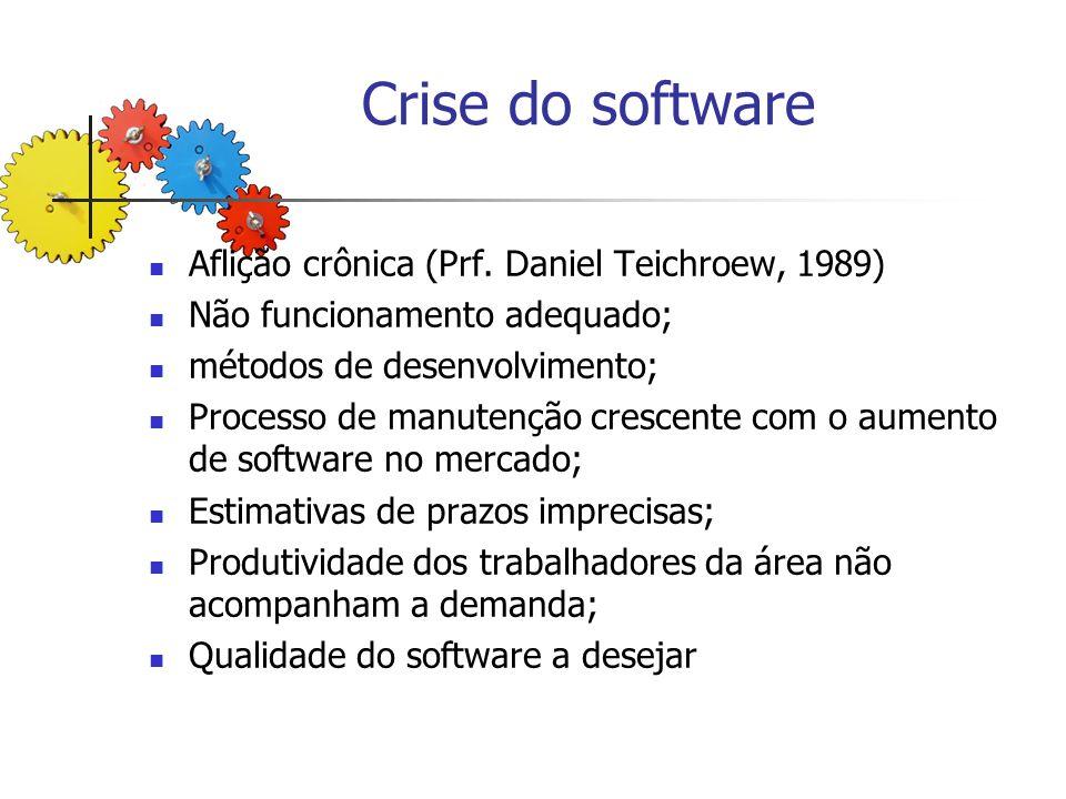 Crise do software Aflição crônica (Prf. Daniel Teichroew, 1989) Não funcionamento adequado; métodos de desenvolvimento; Processo de manutenção crescen
