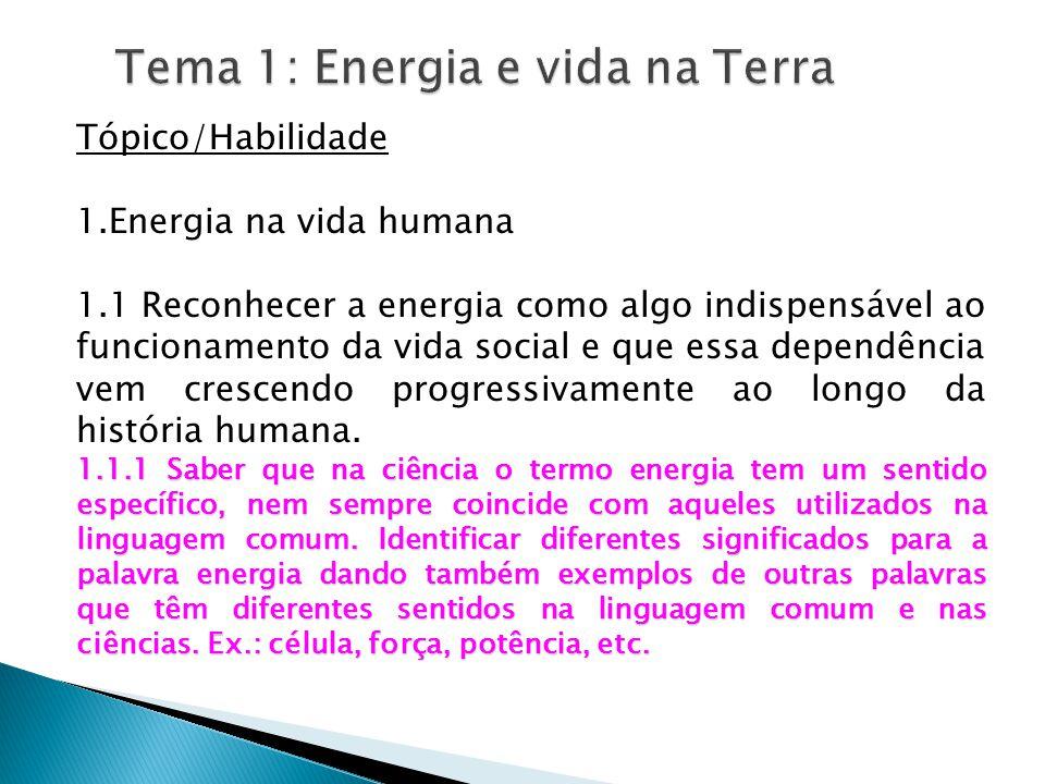 Tema 1: Energia e vida na Terra Tópico/Habilidade 1.Energia na vida humana 1.1 Reconhecer a energia como algo indispensável ao funcionamento da vida social e que essa dependência vem crescendo progressivamente ao longo da história humana.