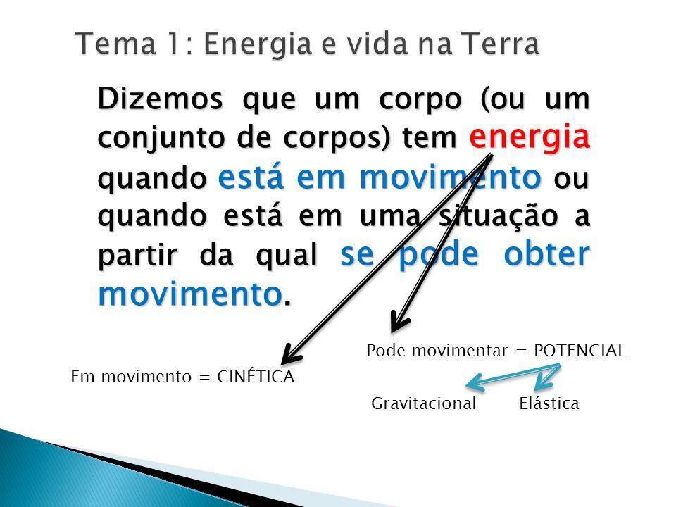Tema 1: Energia e vida na Terra Dizemos que um corpo (ou um conjunto de corpos) tem energia quando está em movimento ou quando está em uma situação a partir da qual se pode obter movimento.