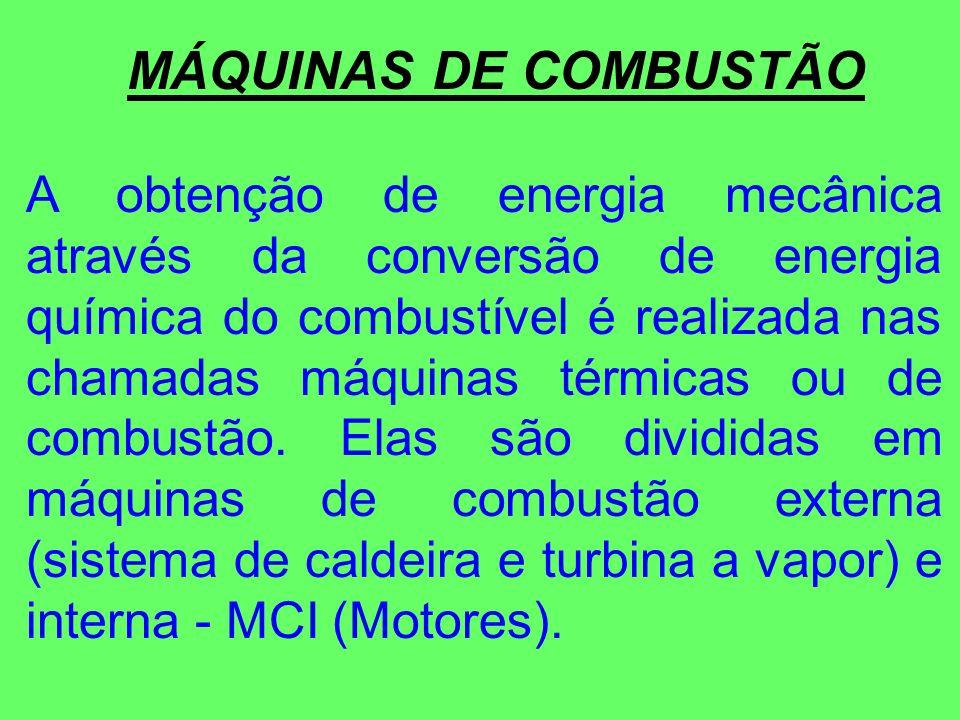 MÁQUINAS DE COMBUSTÃO A obtenção de energia mecânica através da conversão de energia química do combustível é realizada nas chamadas máquinas térmicas ou de combustão.