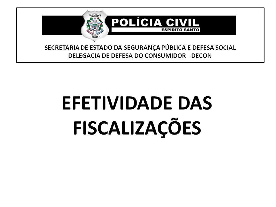 SECRETARIA DE ESTADO DA SEGURANÇA PÚBLICA E DEFESA SOCIAL DELEGACIA DE DEFESA DO CONSUMIDOR - DECON EFETIVIDADE DAS FISCALIZAÇÕES