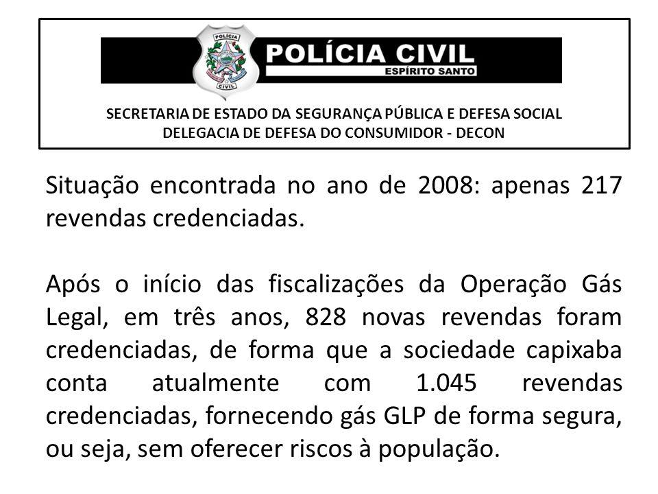 SECRETARIA DE ESTADO DA SEGURANÇA PÚBLICA E DEFESA SOCIAL DELEGACIA DE DEFESA DO CONSUMIDOR - DECON Situação encontrada no ano de 2008: apenas 217 rev