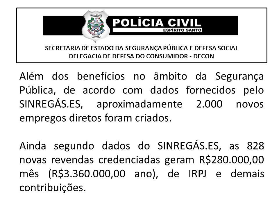 SECRETARIA DE ESTADO DA SEGURANÇA PÚBLICA E DEFESA SOCIAL DELEGACIA DE DEFESA DO CONSUMIDOR - DECON Além dos benefícios no âmbito da Segurança Pública