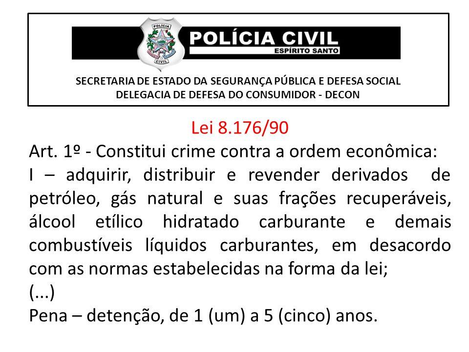SECRETARIA DE ESTADO DA SEGURANÇA PÚBLICA E DEFESA SOCIAL DELEGACIA DE DEFESA DO CONSUMIDOR - DECON Lei 8.176/90 Art. 1º - Constitui crime contra a or