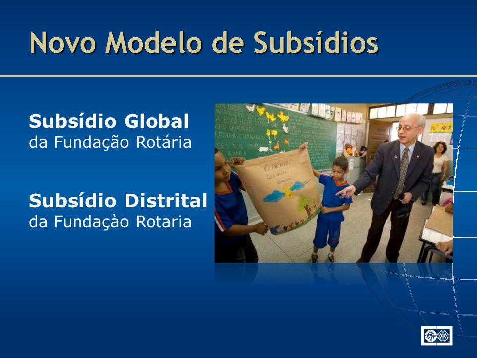 Subsídio Global da Fundação Rotária Subsídio Distrital da Fundaçào Rotaria Novo Modelo de Subsídios
