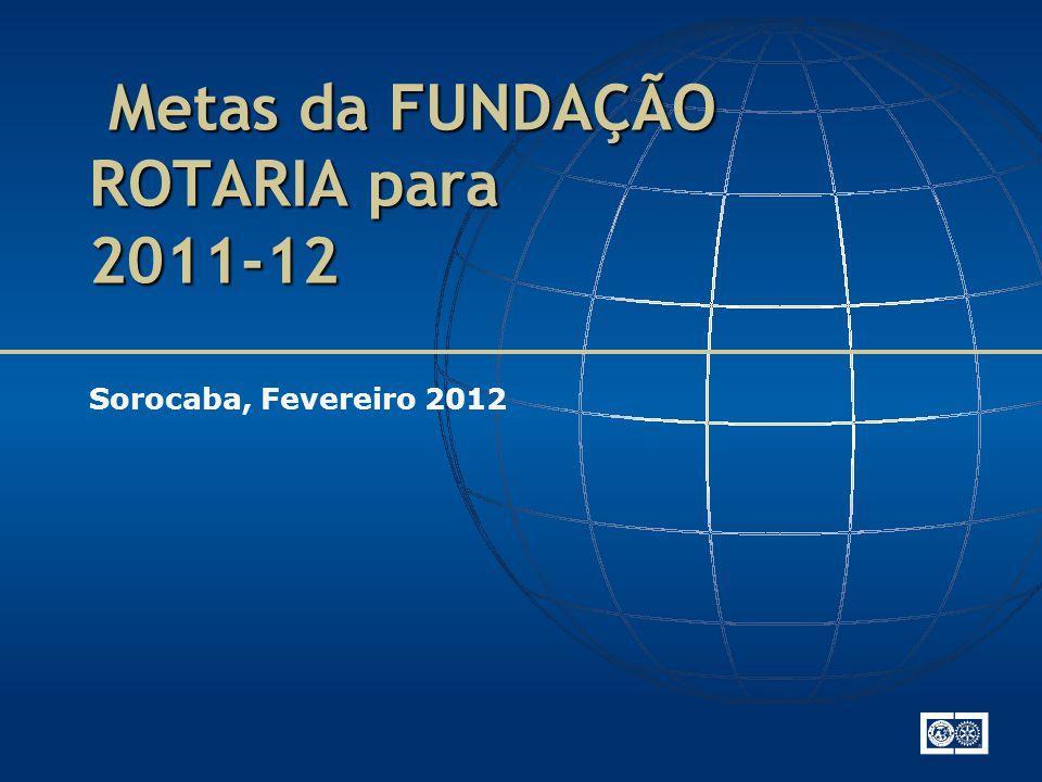 Metas da FUNDAÇÃO ROTARIA para 2011-12 Metas da FUNDAÇÃO ROTARIA para 2011-12 Sorocaba, Fevereiro 2012