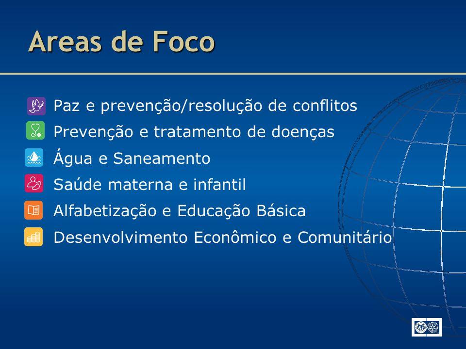 Paz e prevenção/resolução de conflitos Prevenção e tratamento de doenças Água e Saneamento Saúde materna e infantil Alfabetização e Educação Básica Desenvolvimento Econômico e Comunitário Areas de Foco