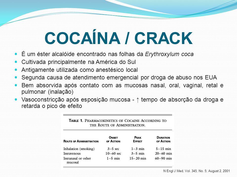 É um éster alcalóide encontrado nas folhas da Erythroxylum coca Cultivada principalmente na América do Sul Antigamente utilizada como anestésico local