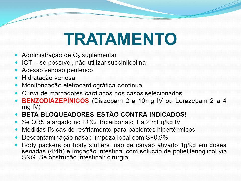 TRATAMENTO Administração de O 2 suplementar IOT - se possível, não utilizar succinilcolina Acesso venoso periférico Hidratação venosa Monitorização el