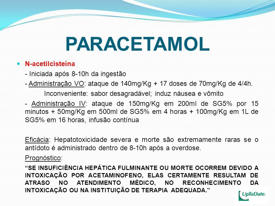 PARACETAMOL N-acetilcisteína - Iniciada após 8-10h da ingestão - Administração VO: ataque de 140mg/Kg + 17 doses de 70mg/Kg de 4/4h. Inconveniente: sa
