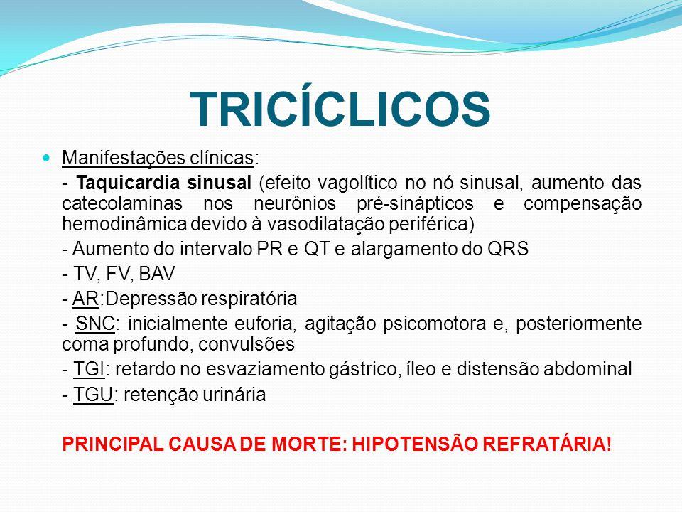TRICÍCLICOS Manifestações clínicas: - Taquicardia sinusal (efeito vagolítico no nó sinusal, aumento das catecolaminas nos neurônios pré-sinápticos e compensação hemodinâmica devido à vasodilatação periférica) - Aumento do intervalo PR e QT e alargamento do QRS - TV, FV, BAV - AR:Depressão respiratória - SNC: inicialmente euforia, agitação psicomotora e, posteriormente coma profundo, convulsões - TGI: retardo no esvaziamento gástrico, íleo e distensão abdominal - TGU: retenção urinária PRINCIPAL CAUSA DE MORTE: HIPOTENSÃO REFRATÁRIA!