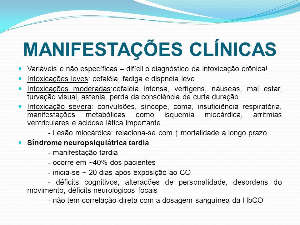 MANIFESTAÇÕES CLÍNICAS Variáveis e não específicas – difícil o diagnóstico da intoxicação crônica.