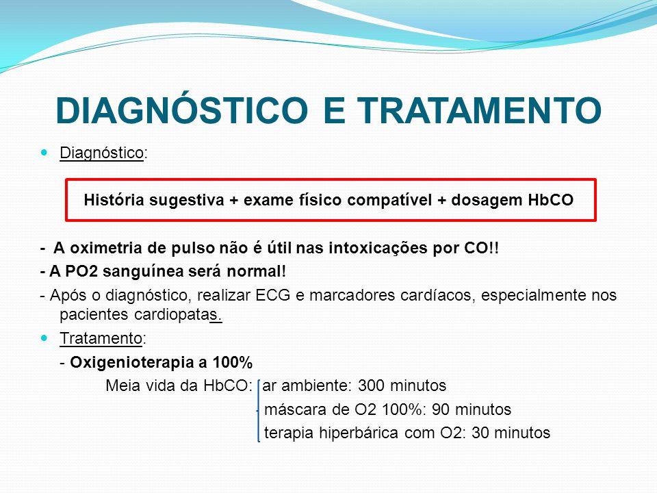 DIAGNÓSTICO E TRATAMENTO Diagnóstico: História sugestiva + exame físico compatível + dosagem HbCO - A oximetria de pulso não é útil nas intoxicações p