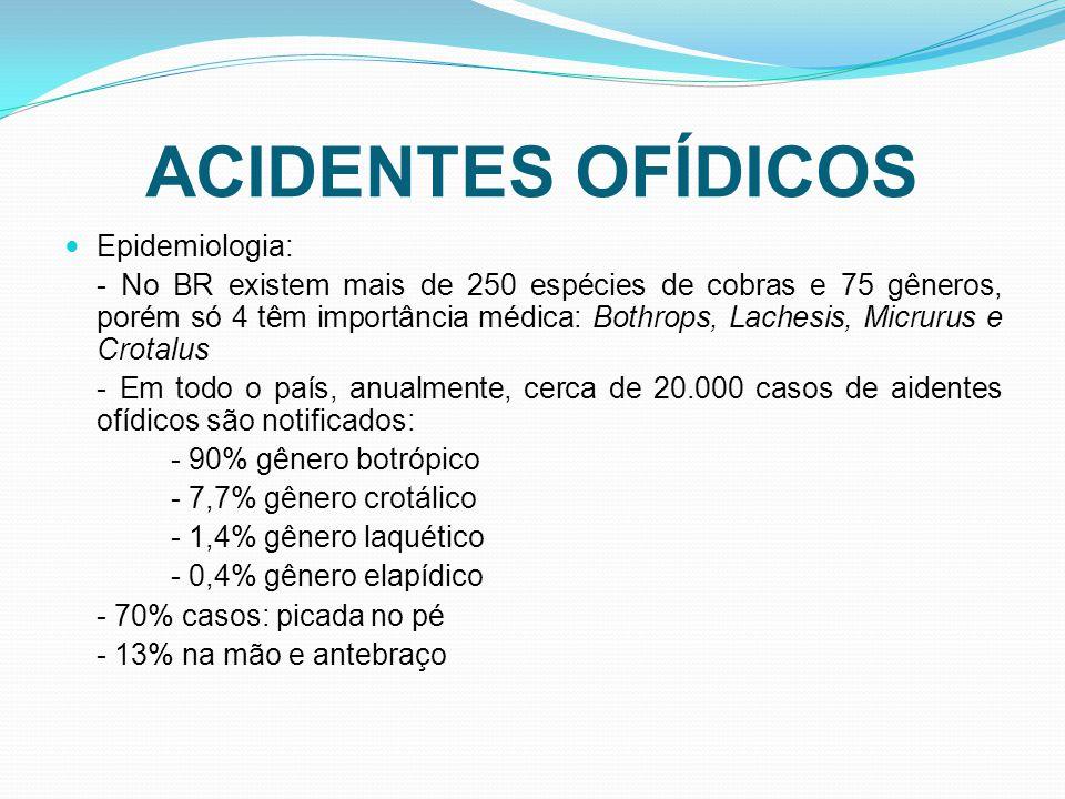Epidemiologia: - No BR existem mais de 250 espécies de cobras e 75 gêneros, porém só 4 têm importância médica: Bothrops, Lachesis, Micrurus e Crotalus - Em todo o país, anualmente, cerca de 20.000 casos de aidentes ofídicos são notificados: - 90% gênero botrópico - 7,7% gênero crotálico - 1,4% gênero laquético - 0,4% gênero elapídico - 70% casos: picada no pé - 13% na mão e antebraço