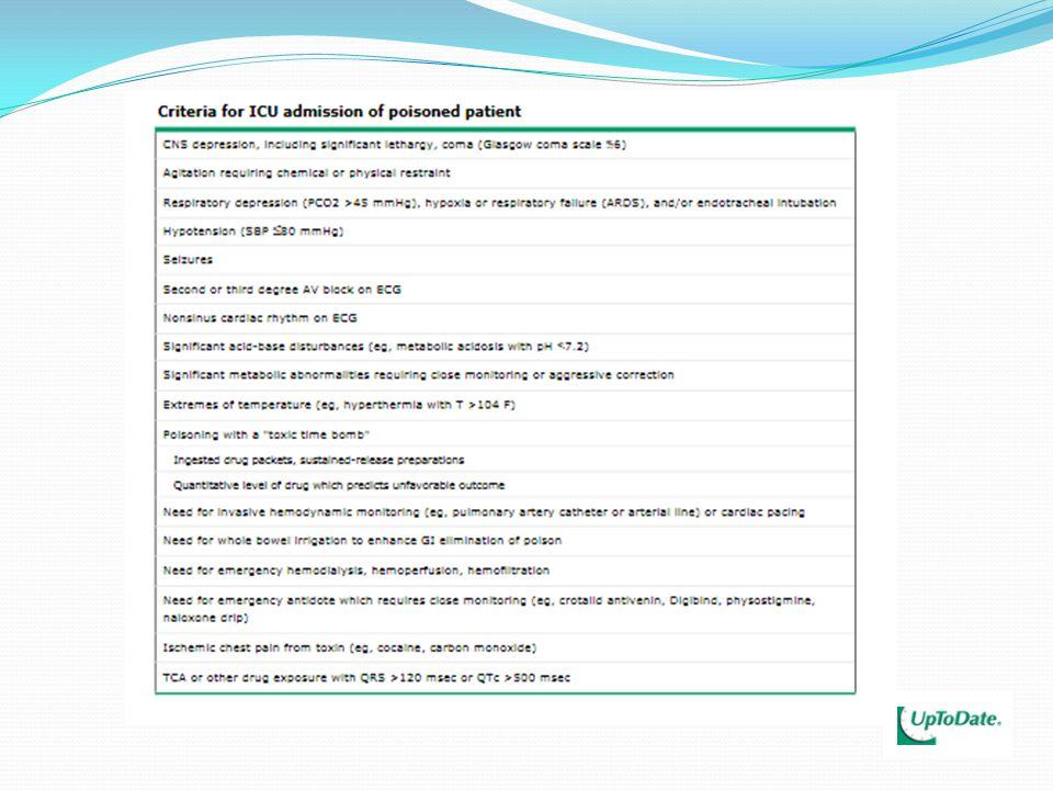 TRICÍCLICOS Tratamento: - Manter permeabilidade de vias aéreas – avaliar IOT - Acesso venoso adequado - Lavagem gástrica até 12h após ingestão - Carvão ativado em doses seriadas - ARRITMIAS: BICARBONATO DE SÓDIO (1 a 2mEq/kg, IV, em 20 a 30 minutos e manter infusão contínua na velocidade e concentração necessárias pra manter o pH sanguíneo entre 7,50 e 7,55) Utilizar o bicarbonato de sódio em todo paciente com QRS>0,10 segundos, arritmias ventriculares e/ou hipotensão.