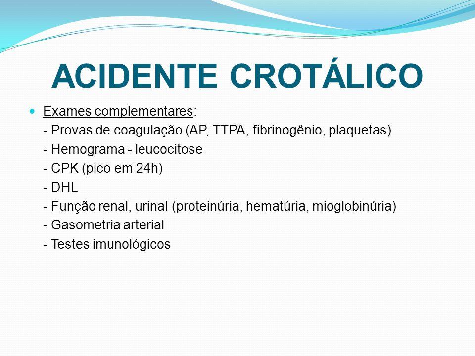 ACIDENTE CROTÁLICO Exames complementares: - Provas de coagulação (AP, TTPA, fibrinogênio, plaquetas) - Hemograma - leucocitose - CPK (pico em 24h) - DHL - Função renal, urinaI (proteinúria, hematúria, mioglobinúria) - Gasometria arterial - Testes imunológicos