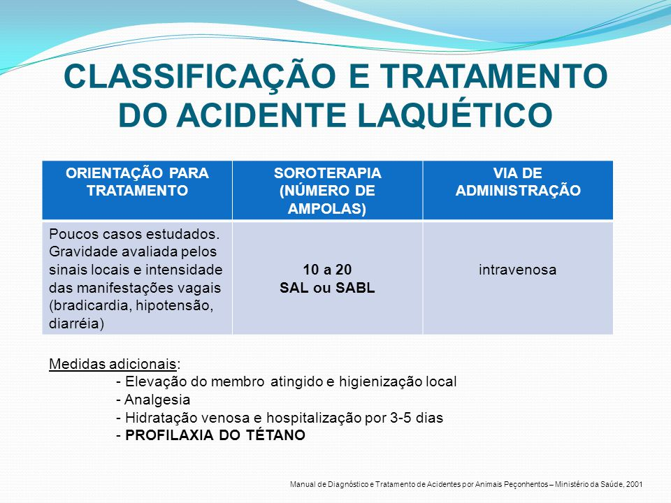 CLASSIFICAÇÃO E TRATAMENTO DO ACIDENTE LAQUÉTICO ORIENTAÇÃO PARA TRATAMENTO SOROTERAPIA (NÚMERO DE AMPOLAS) VIA DE ADMINISTRAÇÃO Poucos casos estudados.
