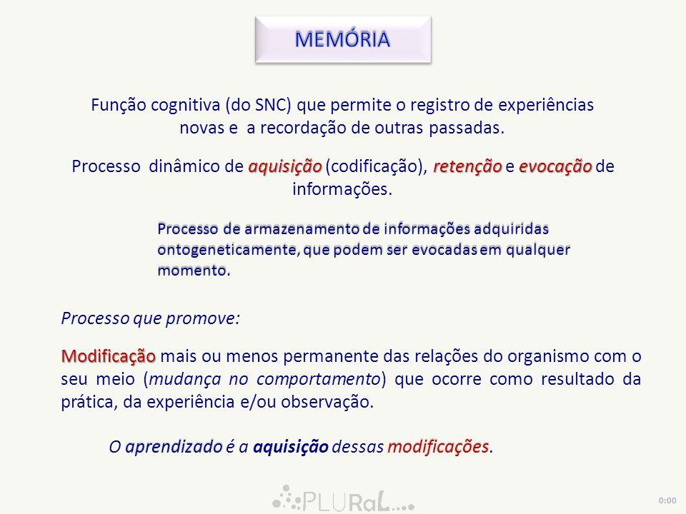 aquisiçãoretençãoevocação Processo dinâmico de aquisição (codificação), retenção e evocação de informações. Processo de armazenamento de informações a