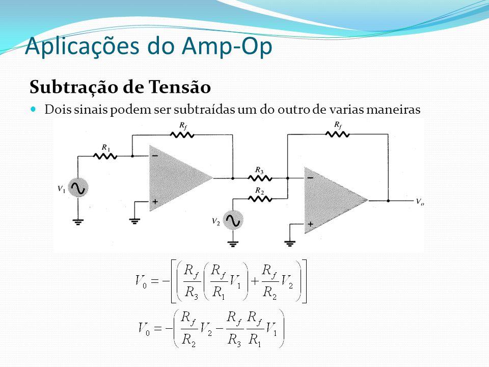Aplicações do Amp-Op Subtração de Tensão Dois sinais podem ser subtraídas um do outro de varias maneiras