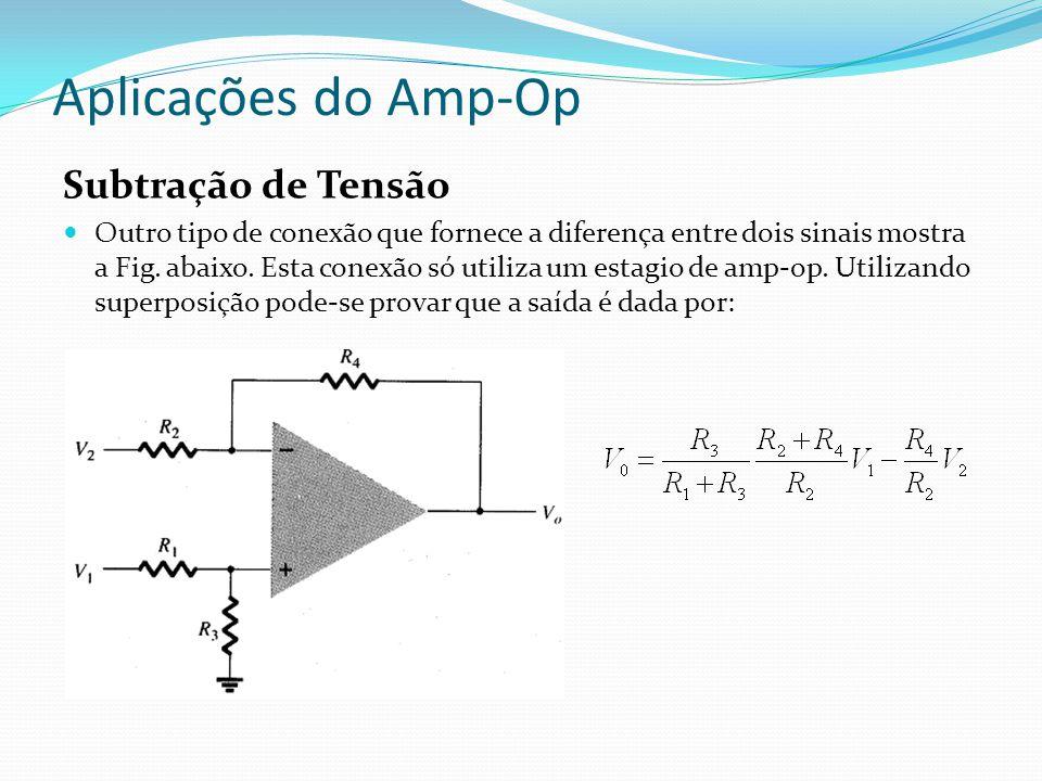 Aplicações do Amp-Op Subtração de Tensão Outro tipo de conexão que fornece a diferença entre dois sinais mostra a Fig.