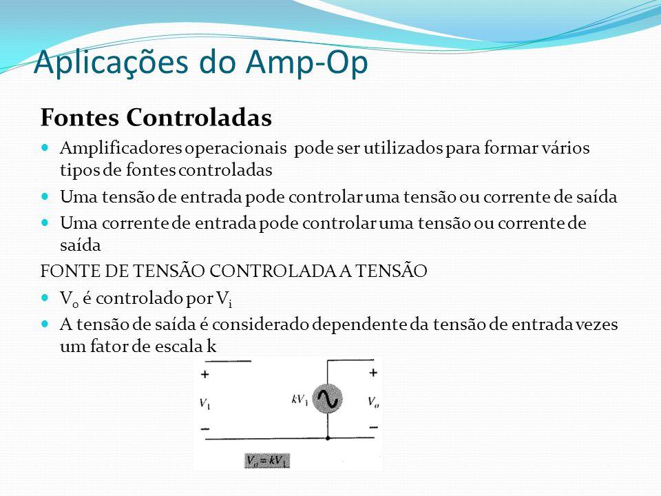 Aplicações do Amp-Op Fontes Controladas Amplificadores operacionais pode ser utilizados para formar vários tipos de fontes controladas Uma tensão de entrada pode controlar uma tensão ou corrente de saída Uma corrente de entrada pode controlar uma tensão ou corrente de saída FONTE DE TENSÃO CONTROLADA A TENSÃO V 0 é controlado por V i A tensão de saída é considerado dependente da tensão de entrada vezes um fator de escala k
