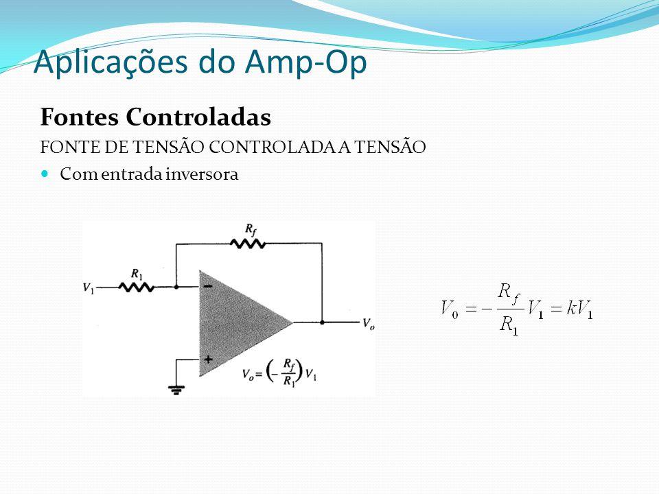 Aplicações do Amp-Op Fontes Controladas FONTE DE TENSÃO CONTROLADA A TENSÃO Com entrada inversora