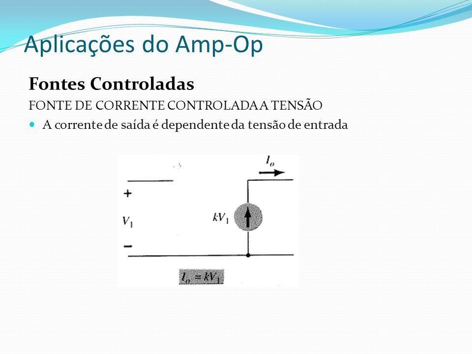 Aplicações do Amp-Op Fontes Controladas FONTE DE CORRENTE CONTROLADA A TENSÃO A corrente de saída é dependente da tensão de entrada