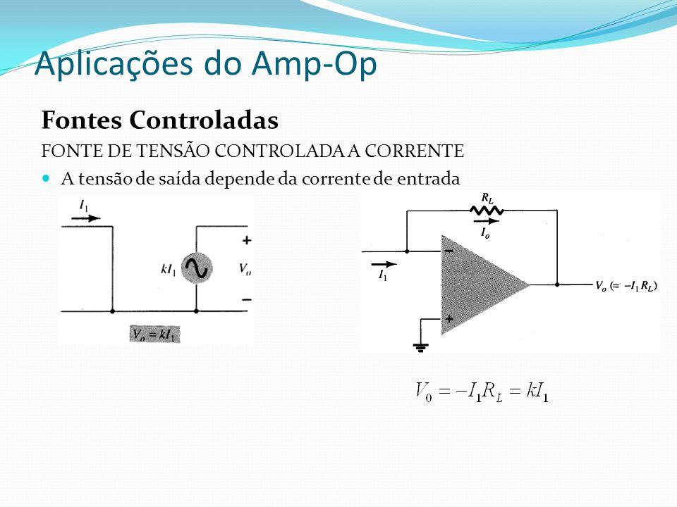 Aplicações do Amp-Op Fontes Controladas FONTE DE TENSÃO CONTROLADA A CORRENTE A tensão de saída depende da corrente de entrada