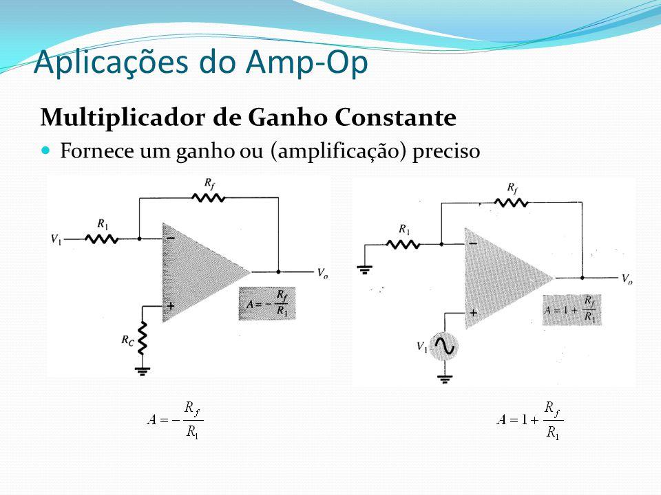 Aplicações do Amp-Op Multiplicador de Ganho Constante Fornece um ganho ou (amplificação) preciso