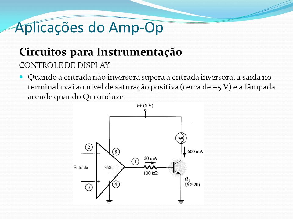 Aplicações do Amp-Op Circuitos para Instrumentação CONTROLE DE DISPLAY Quando a entrada não inversora supera a entrada inversora, a saída no terminal 1 vai ao nível de saturação positiva (cerca de +5 V) e a lâmpada acende quando Q1 conduze
