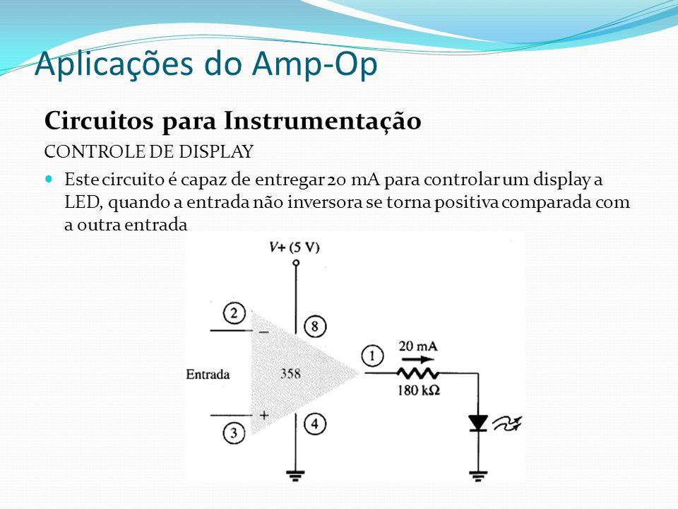 Aplicações do Amp-Op Circuitos para Instrumentação CONTROLE DE DISPLAY Este circuito é capaz de entregar 20 mA para controlar um display a LED, quando a entrada não inversora se torna positiva comparada com a outra entrada