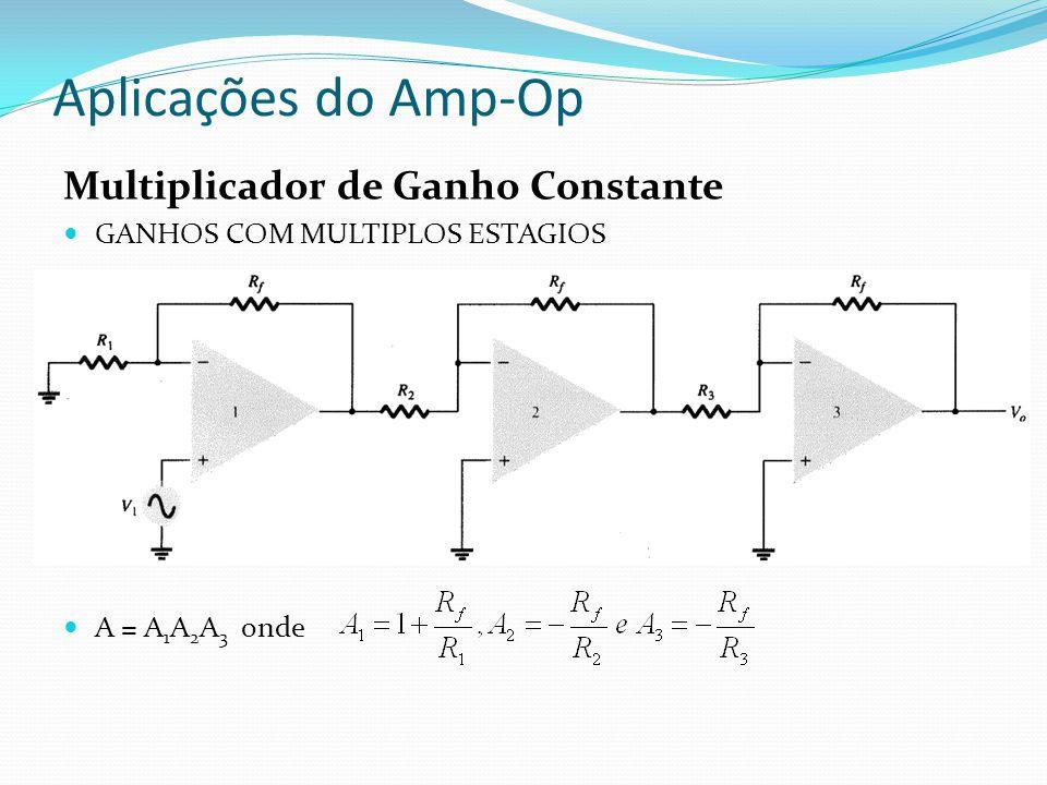 Aplicações do Amp-Op Multiplicador de Ganho Constante GANHOS COM MULTIPLOS ESTAGIOS A = A 1 A 2 A 3 onde