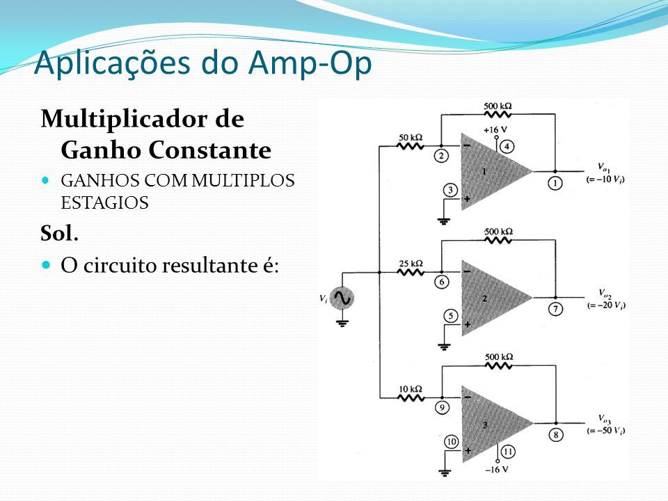 Aplicações do Amp-Op Filtros Ativos Filtros passivos utilizam resistores e capacitores Filtros ativos utilizam ademais amplificadores operacionais