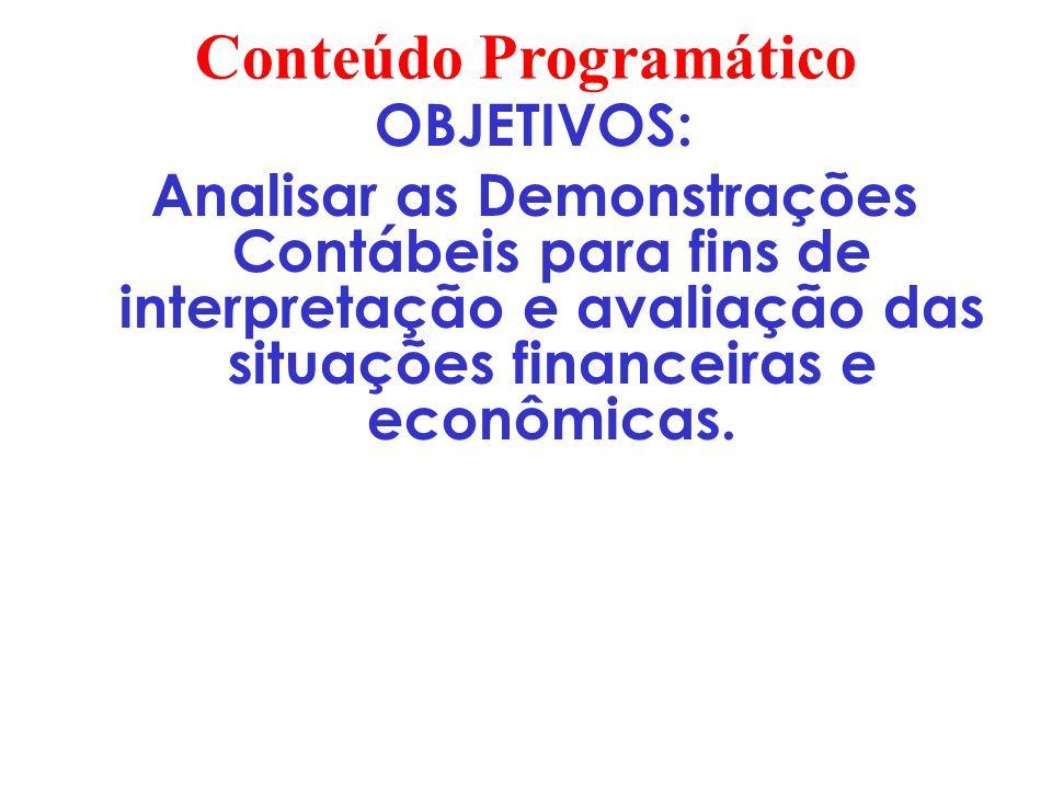 Conteúdo Programático 1.A Empresa e sua estruturação de informações 2.Preparação das Demonstrações para Efeito de Análise Análise Financeira 3.Análise através de índices 4.Análise Horizontal e Vertical 5.Análise de Rotatividade 6.Análise do Capital de Giro 7.Overtrading 8.Termômetro de Kanitz 9.Análise das Demais DC 10.Relatórios de Análise 11.EVA/MVA
