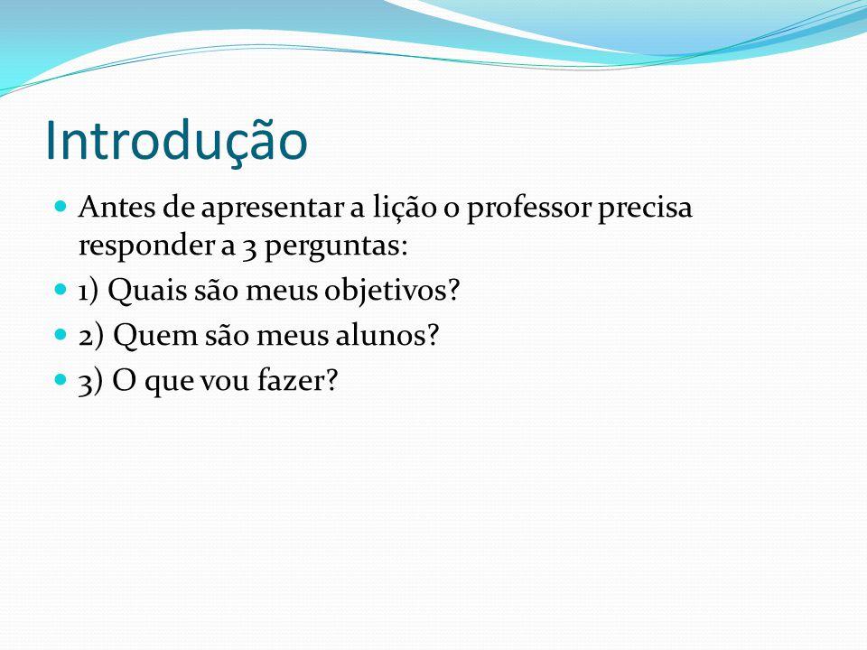 Introdução Antes de apresentar a lição o professor precisa responder a 3 perguntas: 1) Quais são meus objetivos.