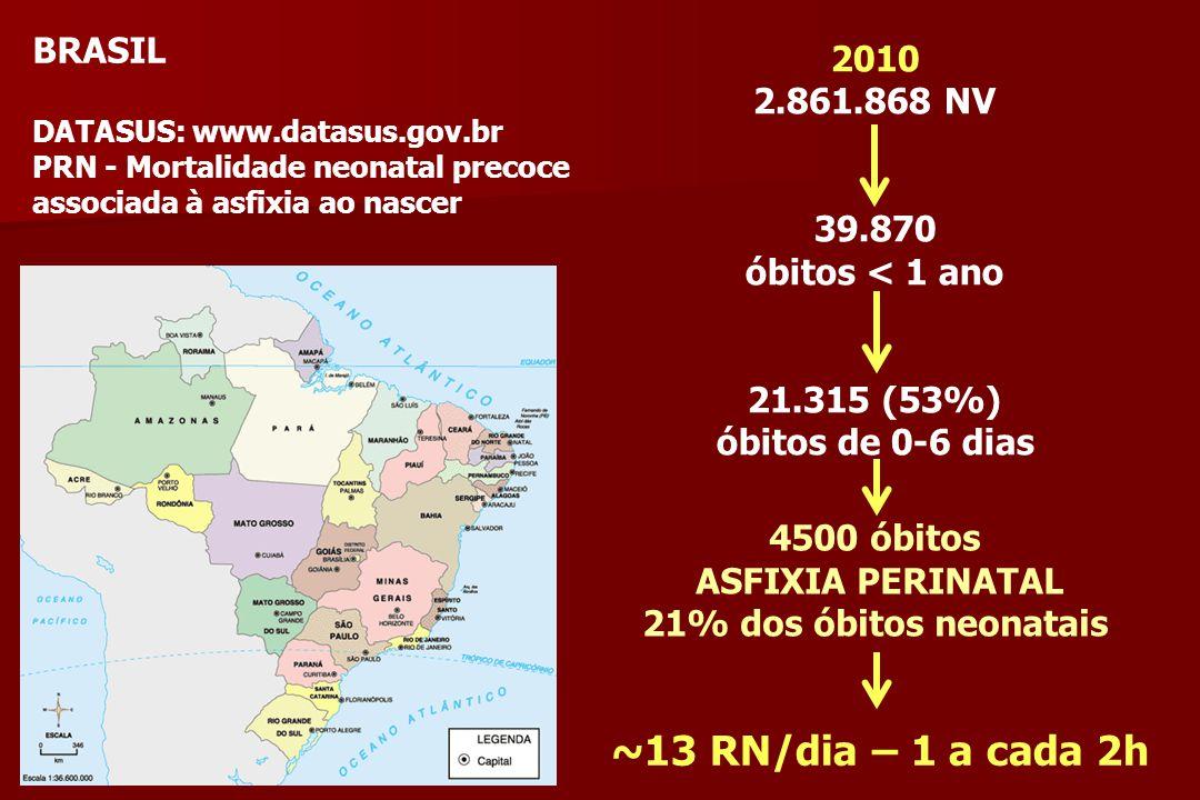 BRASIL DATASUS: www.datasus.gov.br PRN - Mortalidade neonatal precoce associada à asfixia ao nascer 2010 2.861.868 NV 39.870 óbitos < 1 ano 21.315 (53