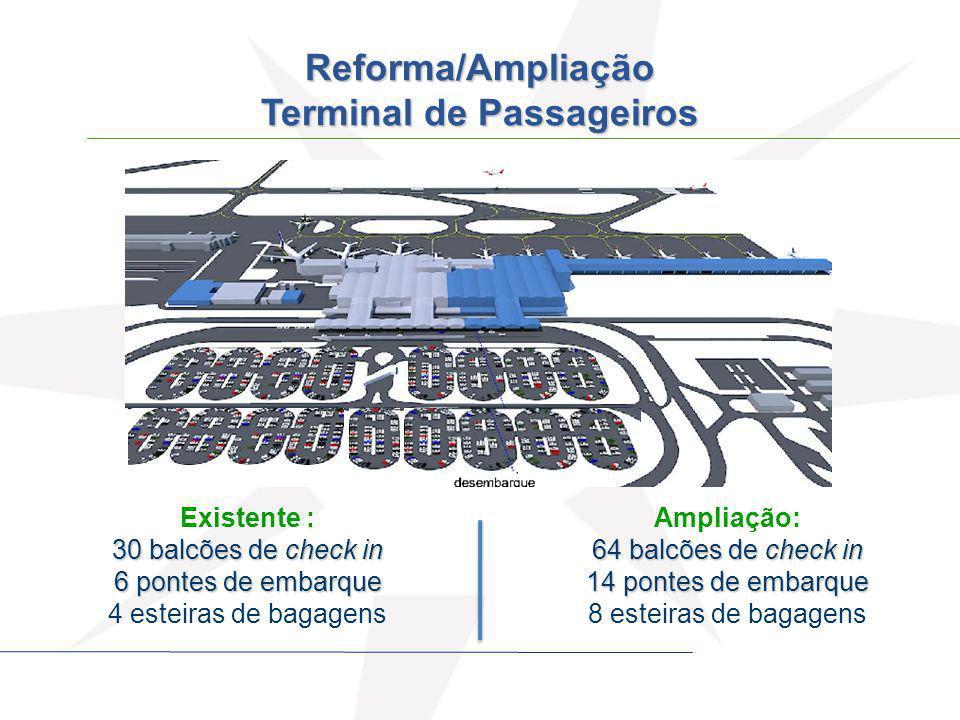 Existente : 30 balcões de check in 6 pontes de embarque 4 esteiras de bagagens Ampliação: 64 balcões de check in 14 pontes de embarque 8 esteiras de b