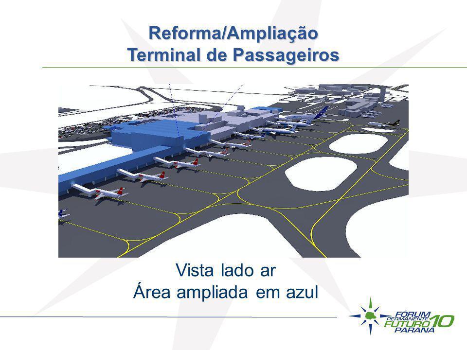 Vista lado ar Área ampliada em azul Reforma/Ampliação Terminal de Passageiros