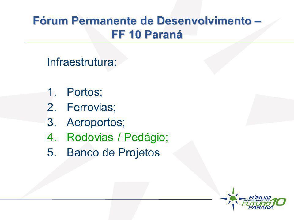 Infraestrutura: 1.Portos; 2.Ferrovias; 3.Aeroportos; 4.Rodovias / Pedágio; 5.Banco de Projetos Fórum Permanente de Desenvolvimento – FF 10 Paraná