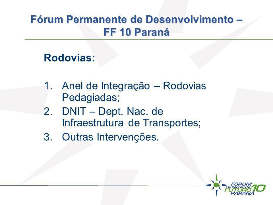 Rodovias: 1.Anel de Integração – Rodovias Pedagiadas; 2.DNIT – Dept. Nac. de Infraestrutura de Transportes; 3.Outras Intervenções. Fórum Permanente de